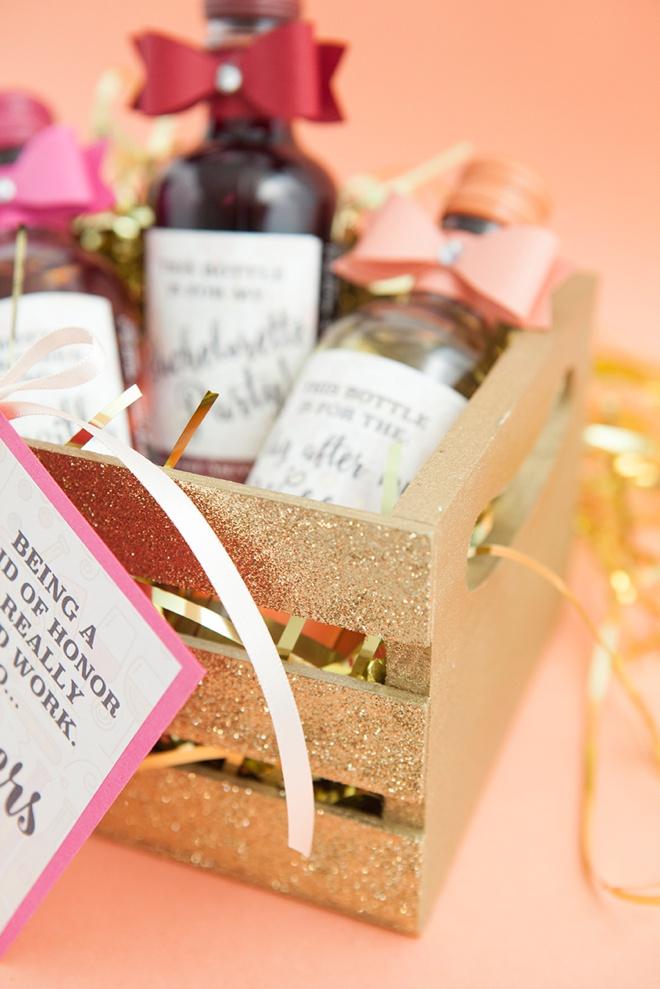 Such a fun idea for a bridesmaid present, mini-wines with funny labels!