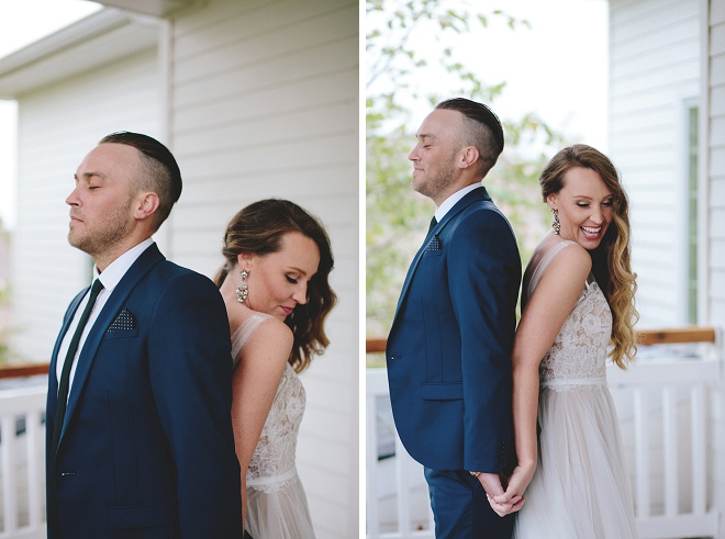 We love this darling first touch before their wedding ceremony!
