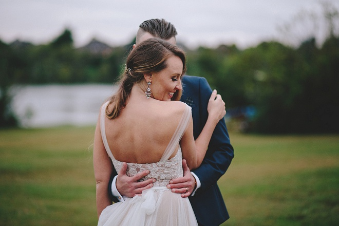 We're swooning over this darling couple and their backyard lake wedding!
