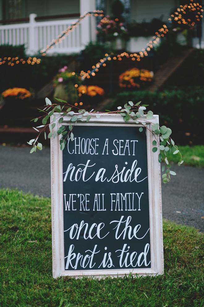 Choose a seat not a side, we're all family once the knot is tied!