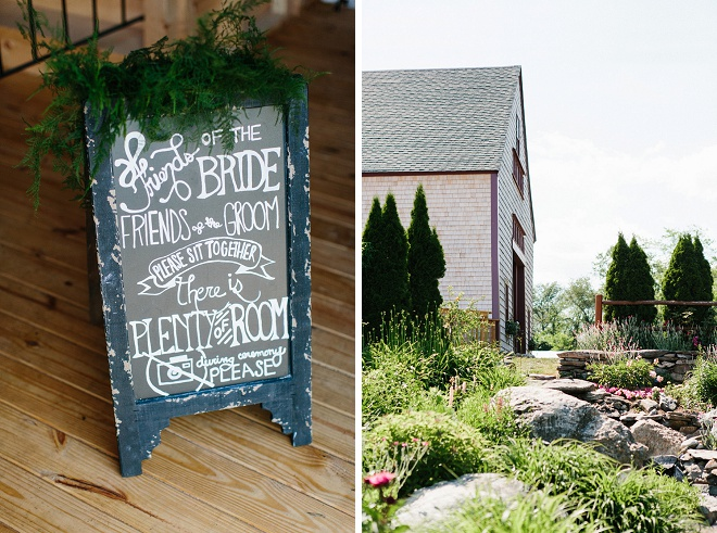 We love this gorgeous hand lettered ceremony chalkboard and venue!