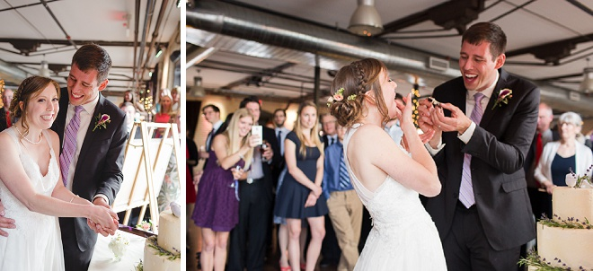 So cute! Love this shot of the Bride and Groom cutting their cake!