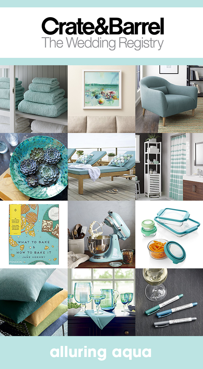 Our favorite aqua items that should be on your Crate & Barrel wedding registry!