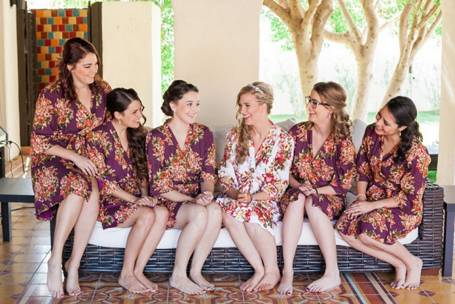 Loving this Bride and her Bridesmaids floral robes! Darling!