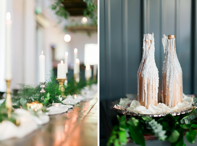 We're loving all of the gorgeous boho details at this wedding! The metallic wax candles and greenery make it pop!