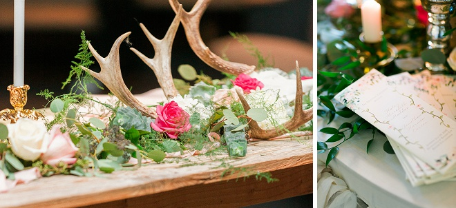 We're loving all of the greenery detail and rustic antler centerpiece detail at this boho wedding!