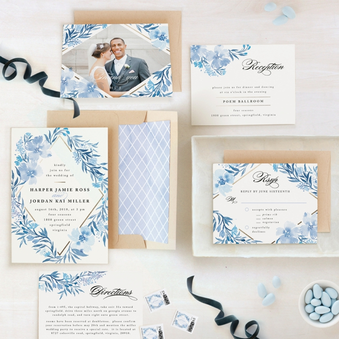 Poetic Blue themed wedding invitation suite from Minted!