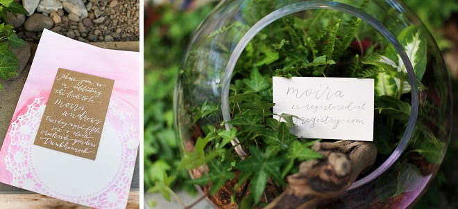 We love these hand lettered detail signs at this gorgeous garden bridal shower!