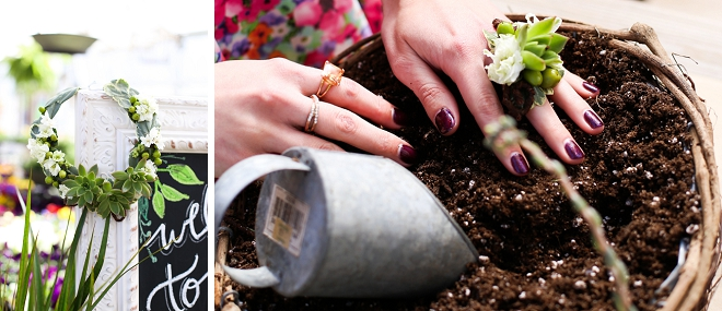 How fun is this DIY terrarium project at this garden bridal shower?! Such a great favor idea!