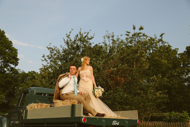 We're loving these Bride and Groom shots with the vintage truck! So fun!