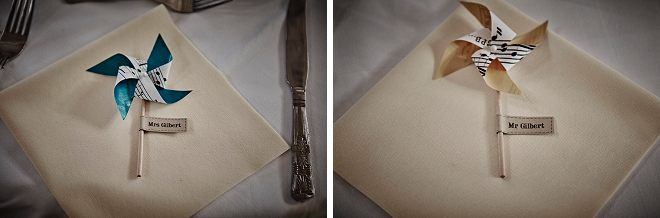 How sweet are these place setting pinwheels the Bride DIY'd for her guests at her UK wedding? Fun!