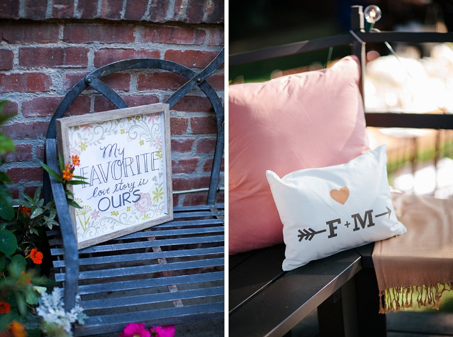 Loving the comfy and darling details and signage of this garden reception!