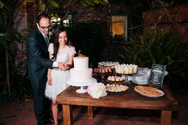 We're loving this gorgeous couple and their dessert bar!
