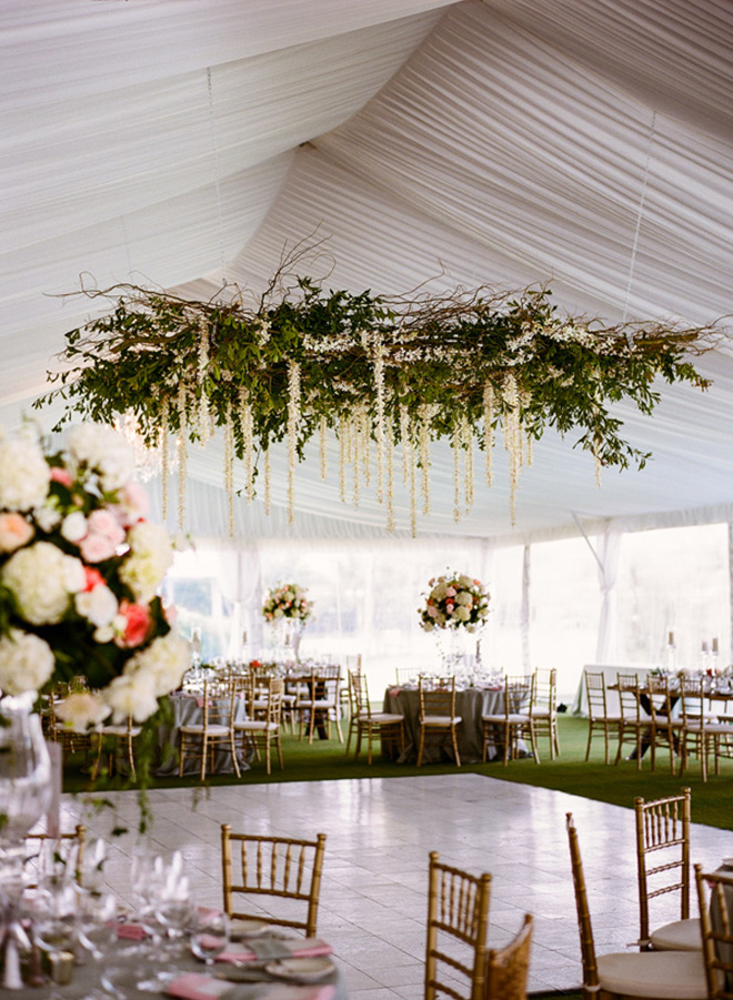 15 awesome ideas to make your wedding tent shine floral chandelier over the dance floor makes a stunning focal point solutioingenieria Image collections