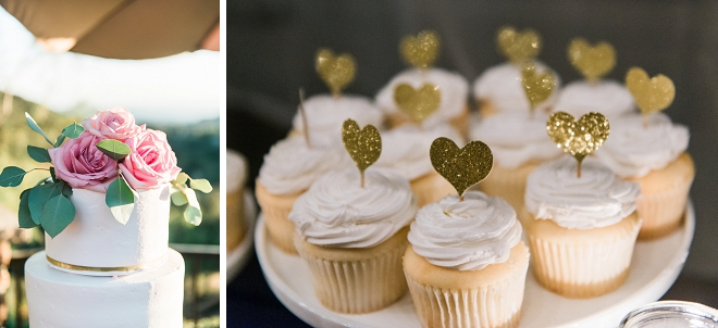 Darling treat bar with cookies, macaroons and cupcakes for this dreamy DIY California wedding!
