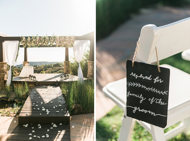 Loving this ceremony venue and darling hand lettered seat reserved signs!