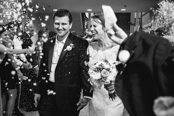 How darling is this exit as the new Mr. and Mrs?! LOVE!