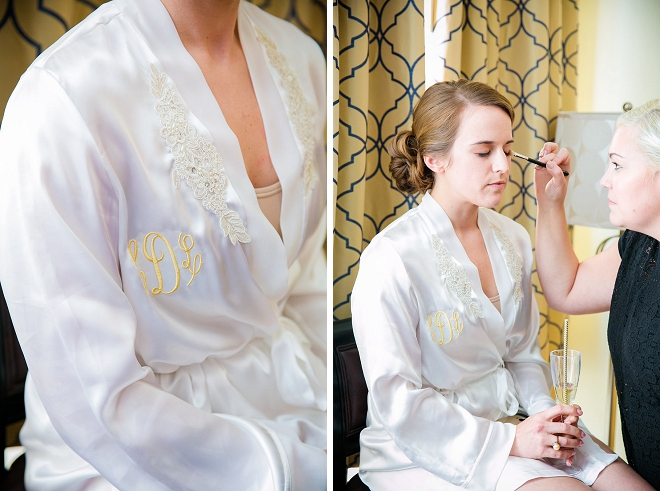 The gorgeous Bride getting ready for the big day in her bridal robe!