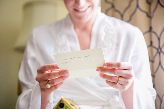 Beautiful Bride getting ready for the big day with a note from her Groom!