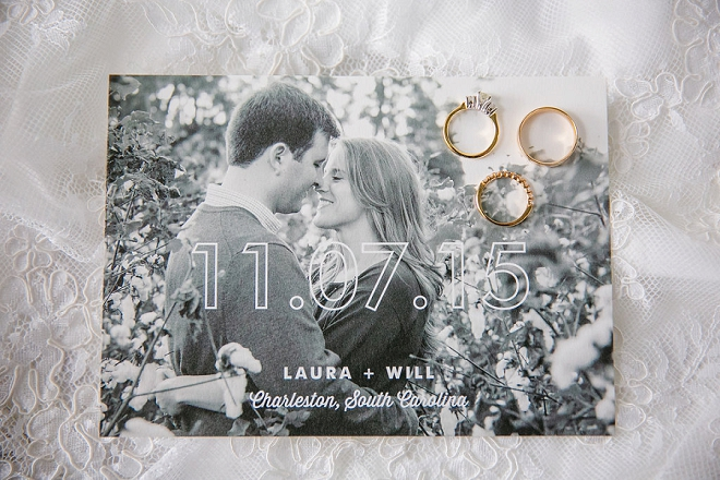 How cute is this couples Save the Date and ring shot?! Love!