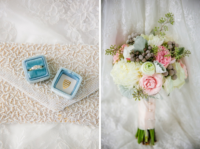 We're in love with this gorgeous Bride's bouquet and turquoise ring box! Stunning!