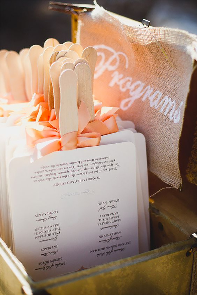 programs that double as fans are a genius for summer weddings