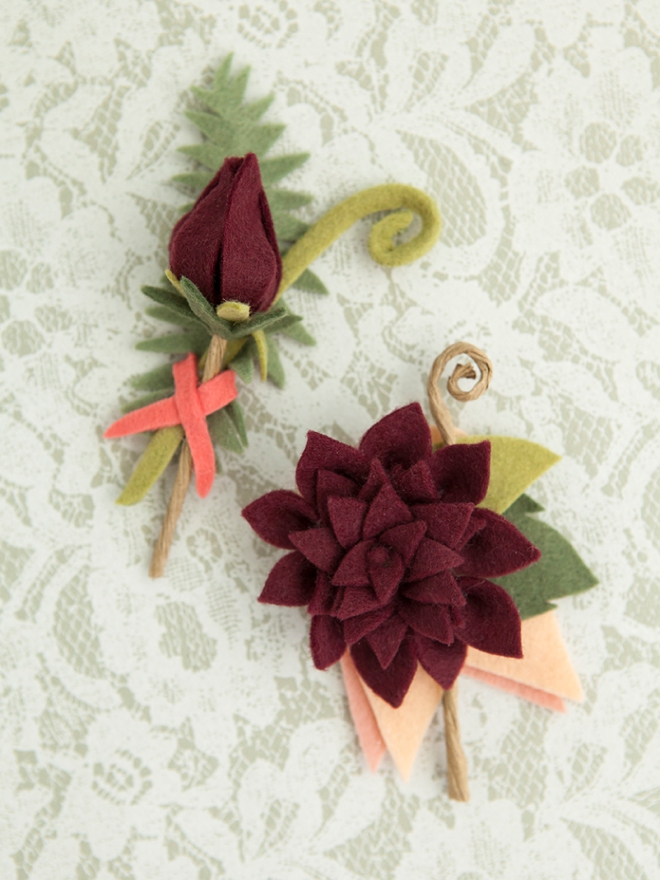 The most darling felt dahlia boutonnieres!