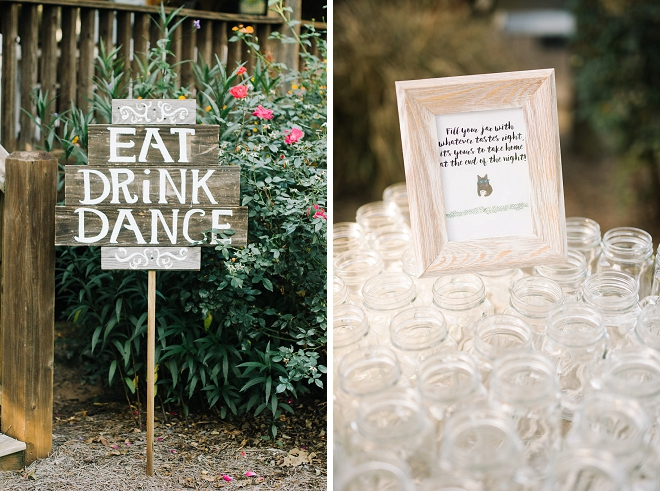 We're loving the cute Eat, Drink + Dance sign at this gorgeous wedding!