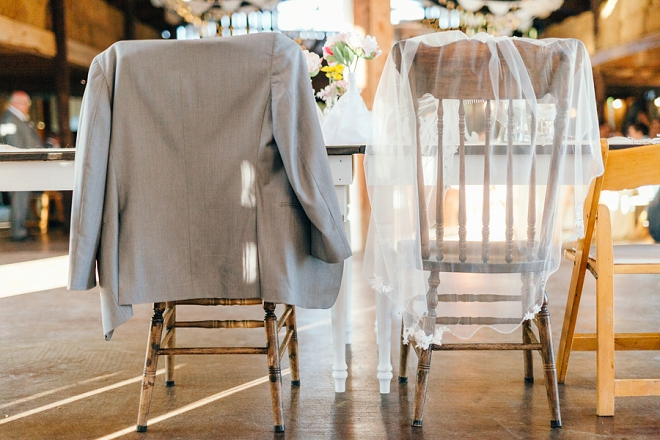 What a darling shot of the couple's sweetheart table!