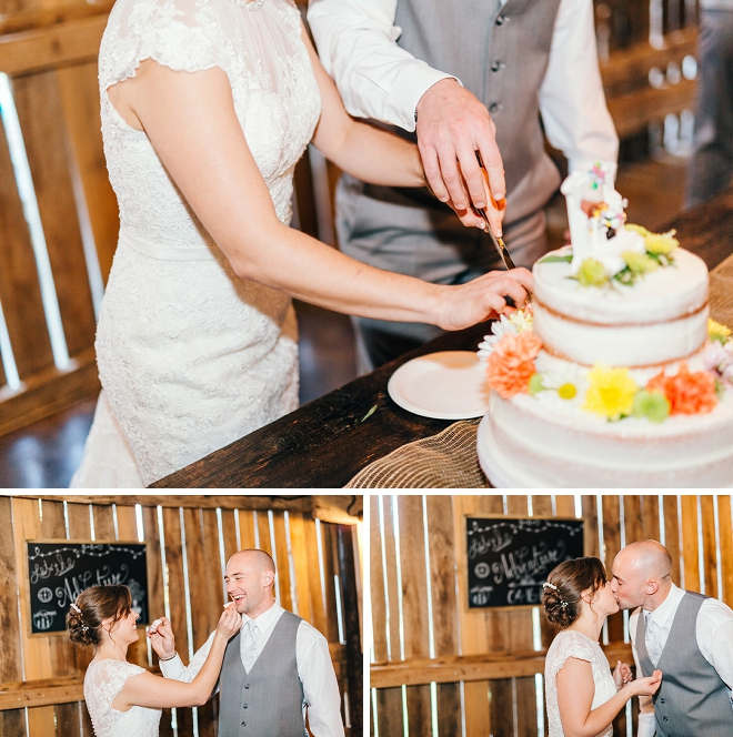 Loving this shot of the new Mr. and Mrs. cutting the cake!