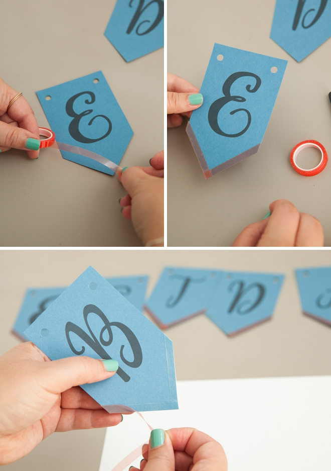 Check out this super cute, free printable alphabet banner with glitter!