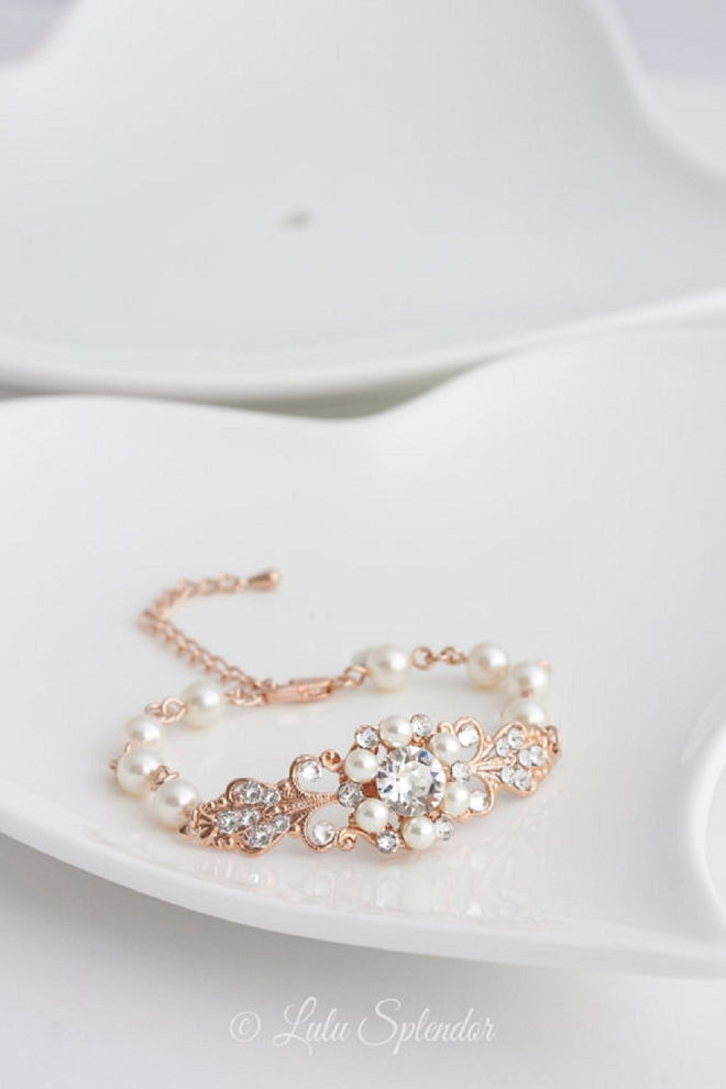Gorgeous wedding day bracelet with rose gold and diamonds!