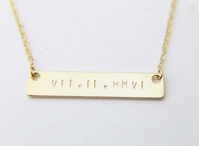 We love this simple and modern wedding day necklace!