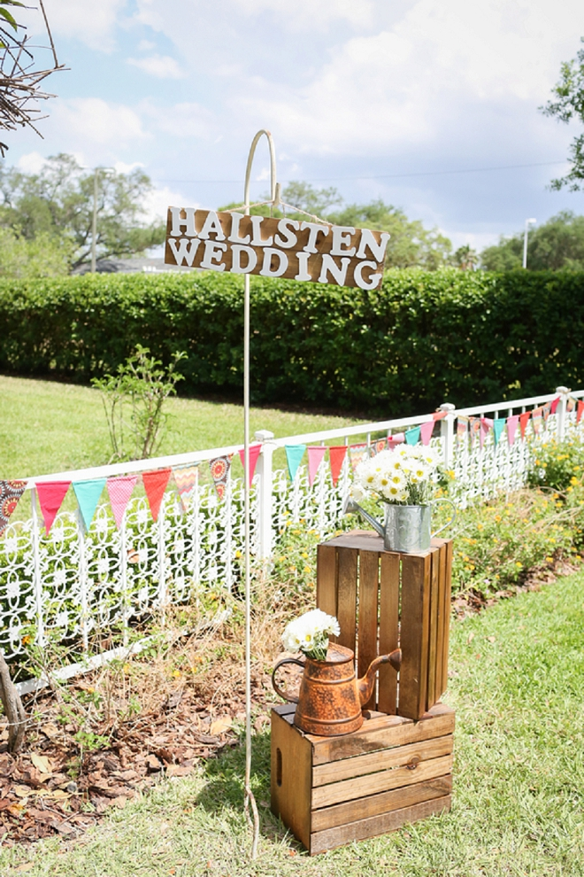 How darling is this wedding sign and their gorgeous venue!