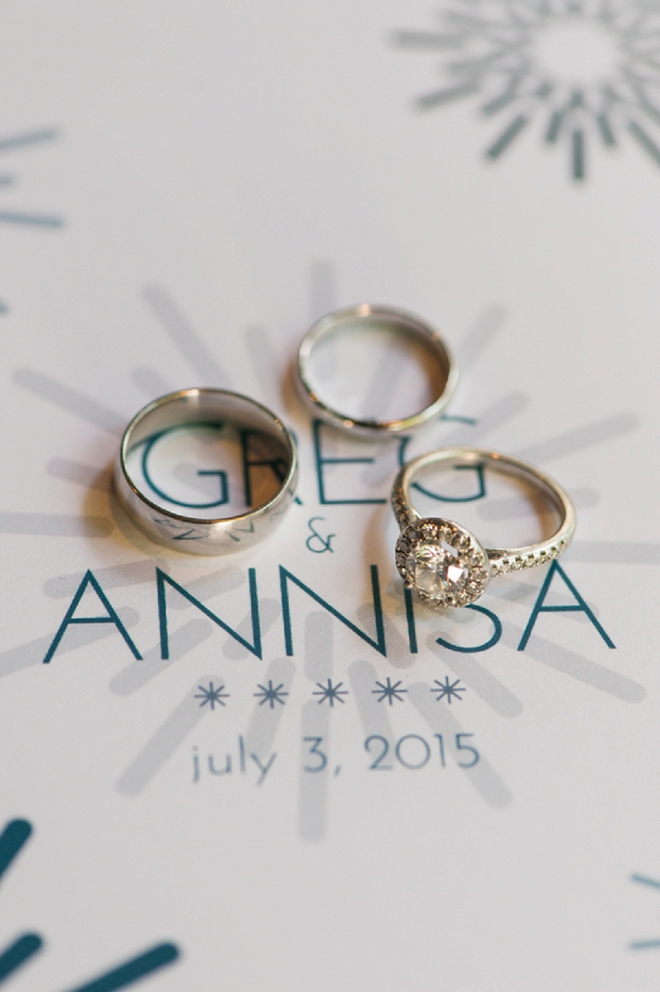 We love these custom designed invitations and ring shot!