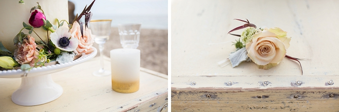 In LOVE with this darling tablescape on the beach at this gorgeous styled shoot!