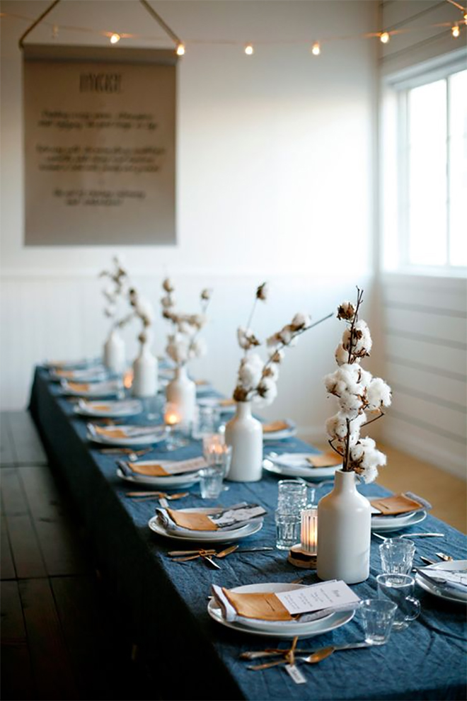Cotton branches are a sweet alternative to florals.