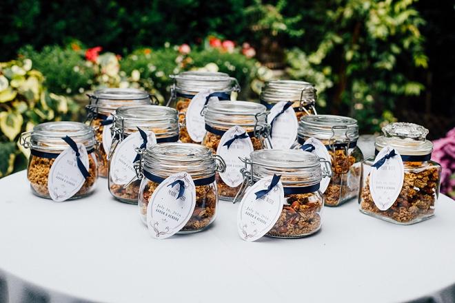 Loving the homemade granola favors at this stunning backyard wedding!