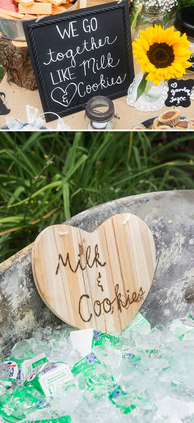 How darling is this milk and cookies dessert bar?! We're in LOVE!