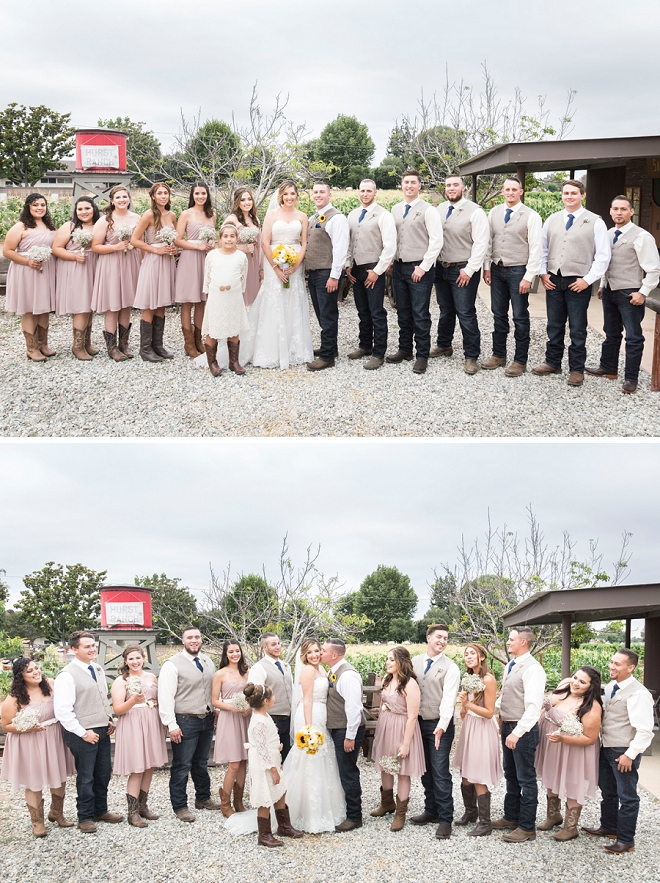 Cute snap of this darling couple's rustic wedding and wedding party!