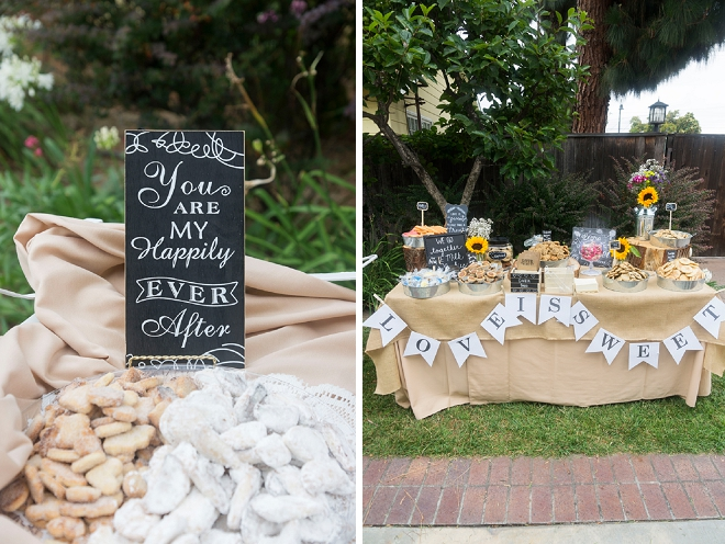 We're loving this super cute dessert bar at this outdoor wedding!