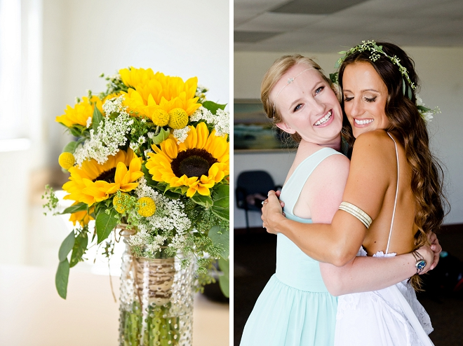 We're loving this boho Bride and her gorgeous sunflower wedding bouquet!