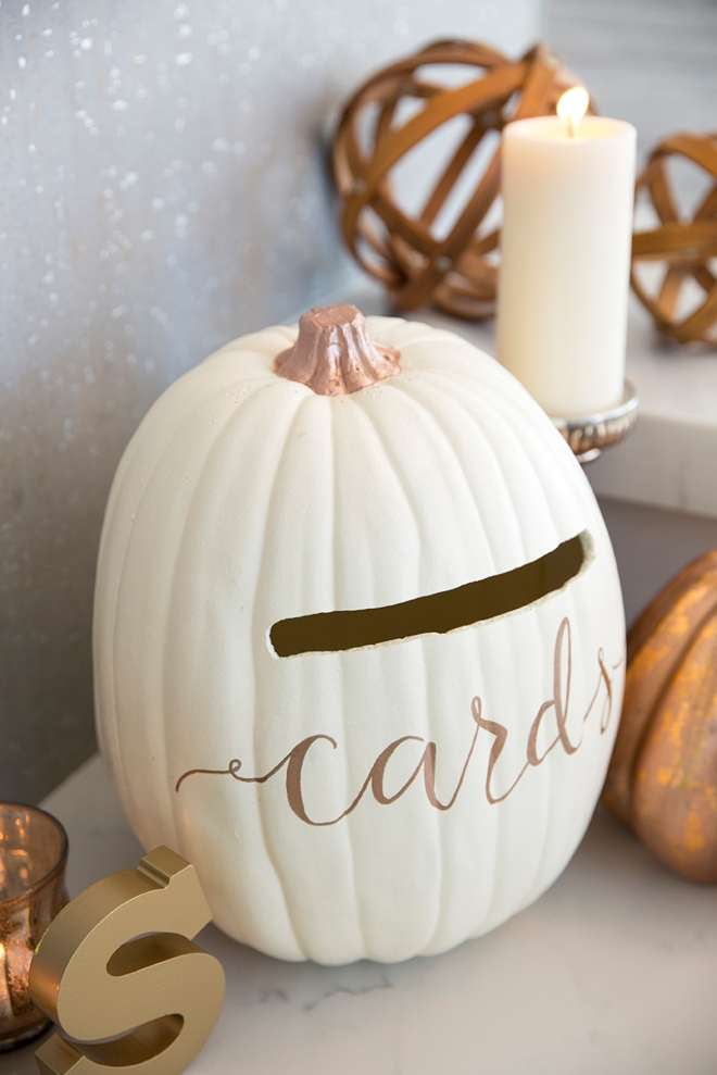 Learn How To Turn A Foam Pumpkin Into The Most Perfect Fall Wedding Card Box