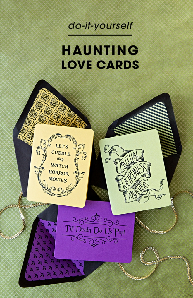 Check out these free printable halloween love cards!
