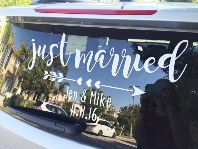 DIY Just Married Car Window Cling Sign!
