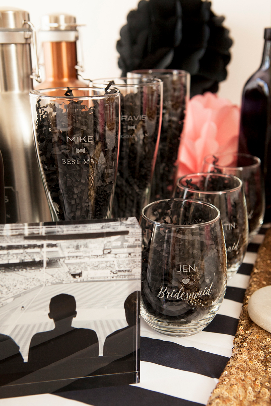 Personalized wine glasses and pilsner glasses for your bridal party!