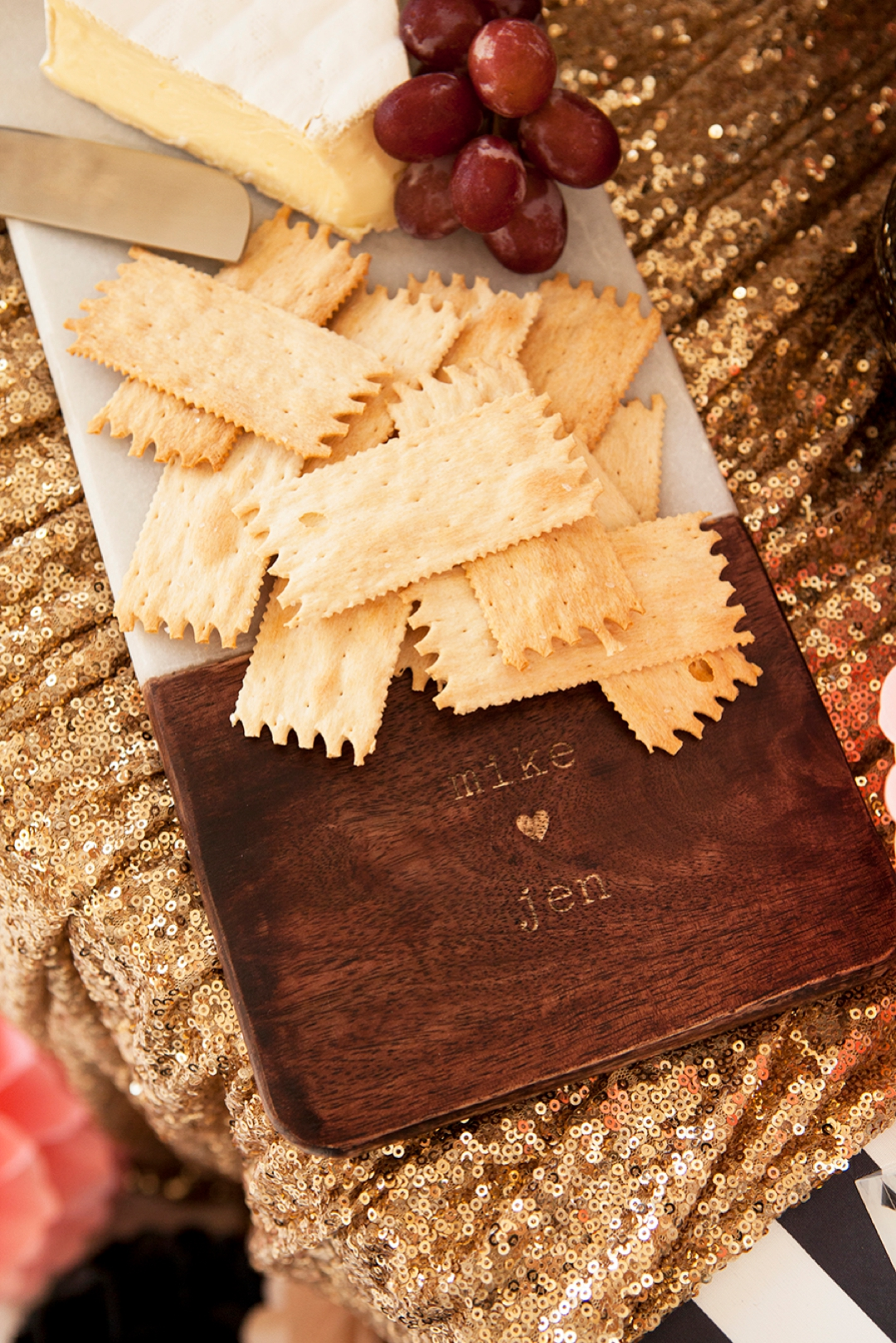 Gorgeous personalized marble and wood cutting board!