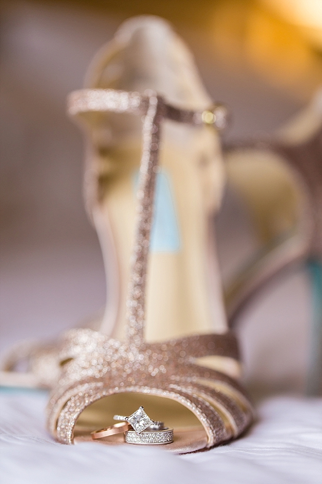 We LOVE this ring shot in the Bride's Betsy Johnson wedding shoe!