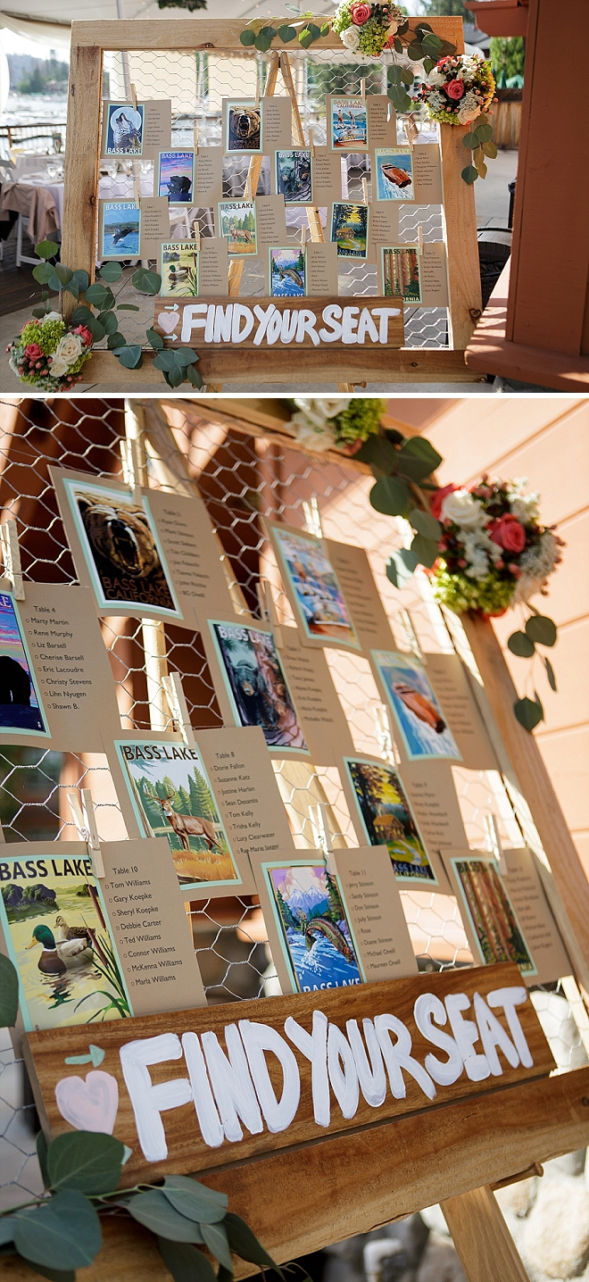 Check out this seating chart display the Bride made using chicken wire and Bass Lake wildlife photos!