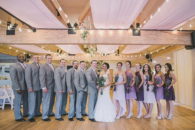 Sweet snap of the Bride + Groom and their wedding party!